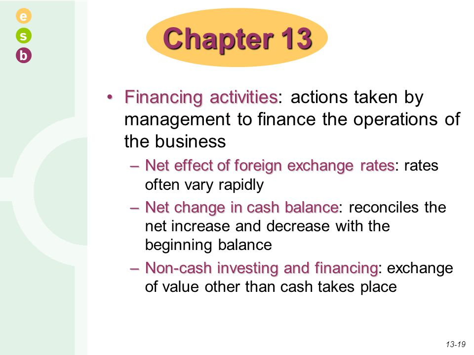 e s b Financing activitiesFinancing activities: actions taken by management to finance the operations of the business –Net effect of foreign exchange