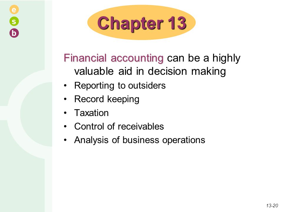 e s b Financial accounting Financial accounting can be a highly valuable aid in decision making Reporting to outsiders Record keeping Taxation Control