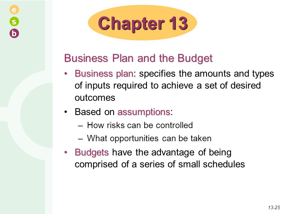 e s b Business Plan and the Budget Business planBusiness plan: specifies the amounts and types of inputs required to achieve a set of desired outcomes
