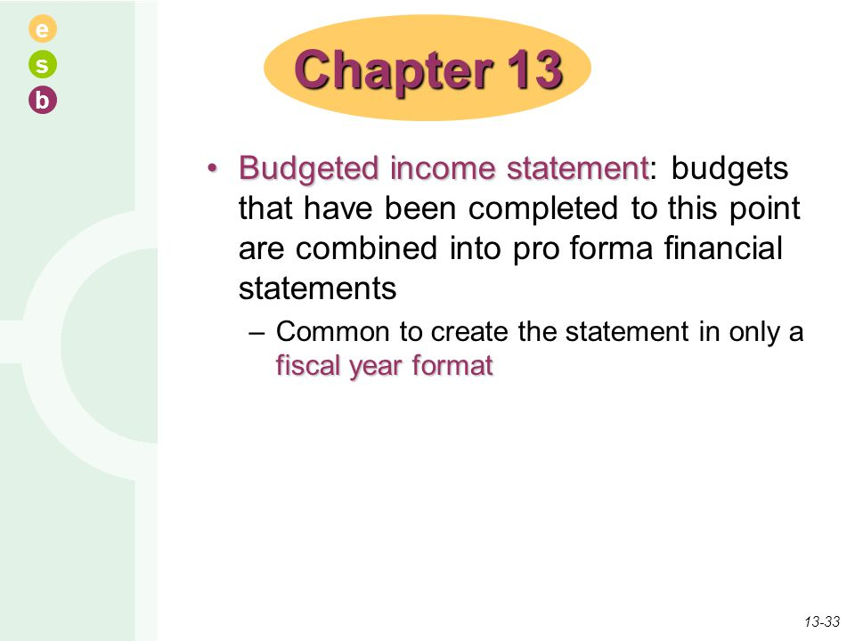 e s b Budgeted income statementBudgeted income statement: budgets that have been completed to this point are combined into pro forma financial stateme