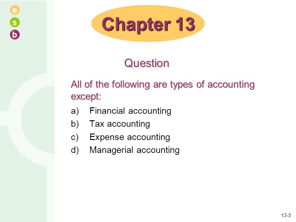 e s b All of the following are types of accounting except: a)Financial accounting b)Tax accounting c)Expense accounting d)Managerial accounting Chapte