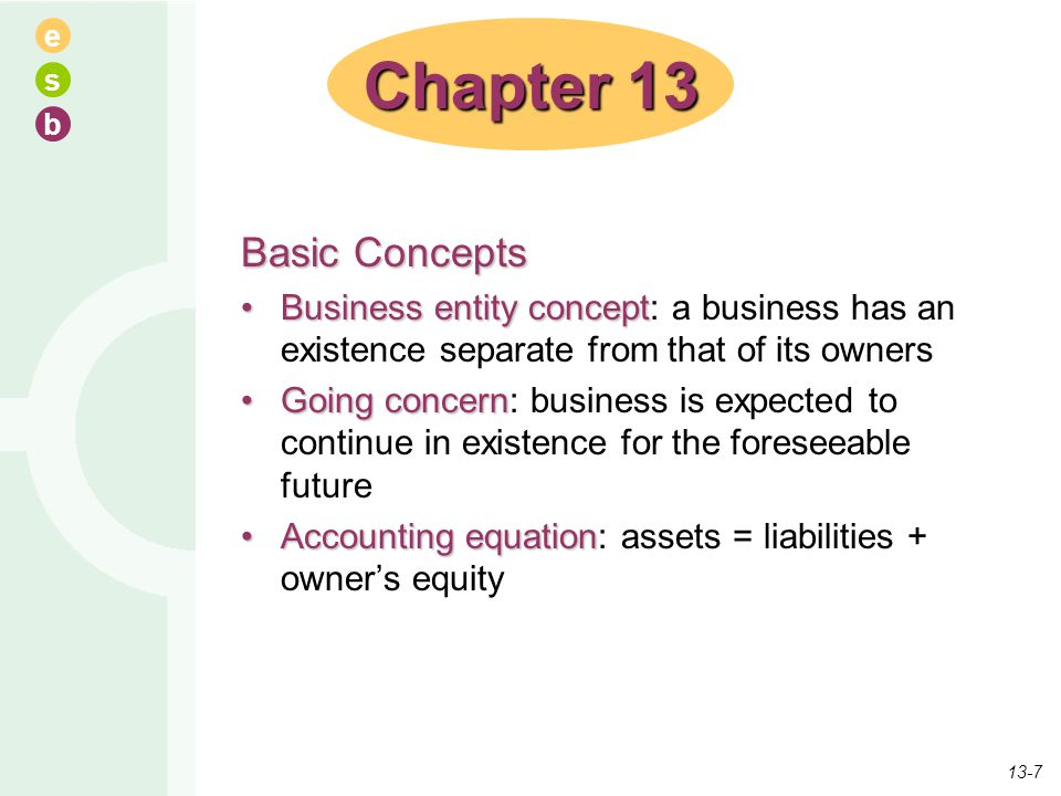 e s b Basic Concepts Business entity conceptBusiness entity concept: a business has an existence separate from that of its owners Going concernGoing c