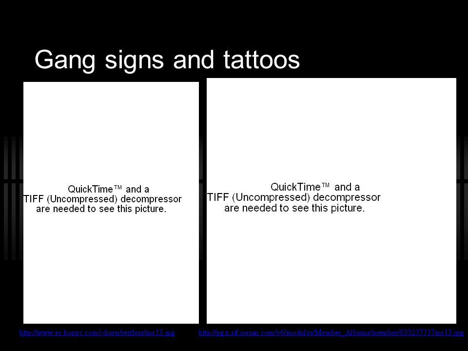 Gang signs and tattoos