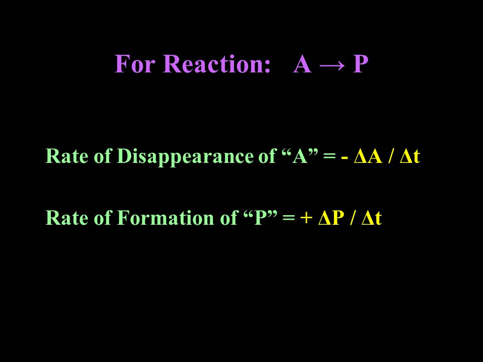 For Reaction: A → P Rate of Disappearance of A = - ΔA / Δt Rate of Formation of P = + ΔP / Δt