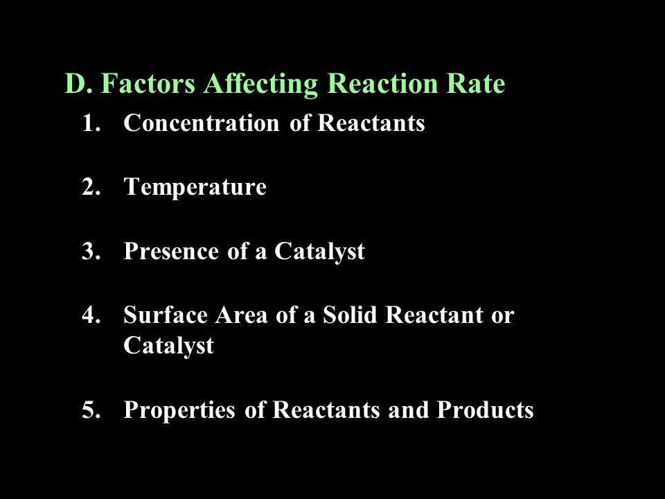 D.Factors Affecting Reaction Rate 1.
