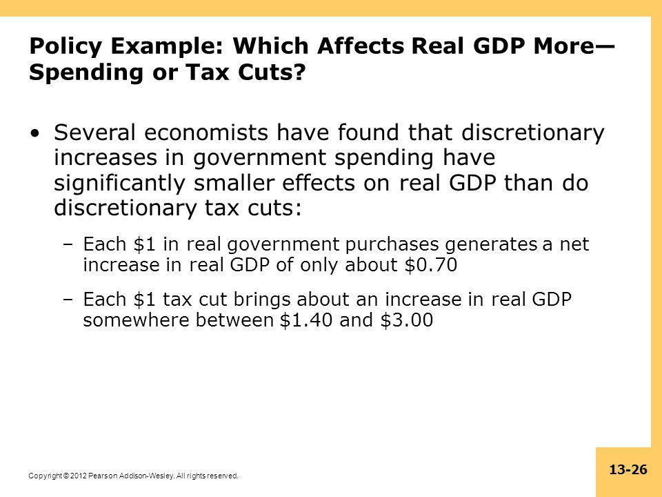 Copyright © 2012 Pearson Addison-Wesley. All rights reserved. 13-26 Policy Example: Which Affects Real GDP More— Spending or Tax Cuts? Several economi