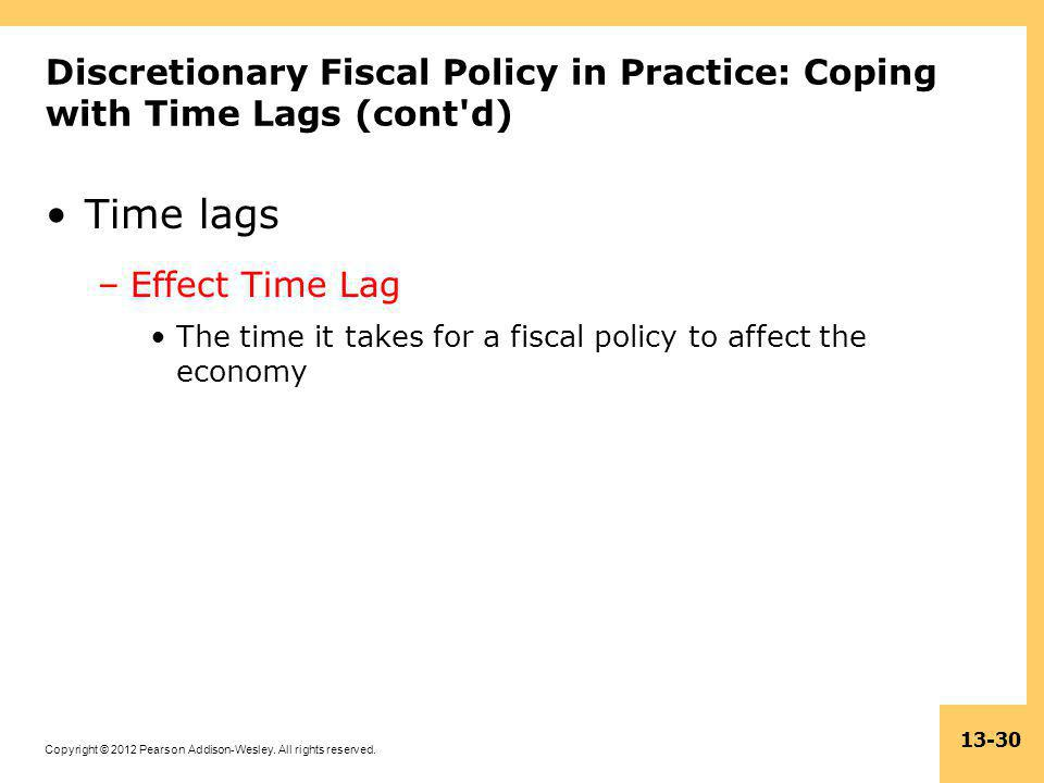 Copyright © 2012 Pearson Addison-Wesley. All rights reserved. 13-30 Discretionary Fiscal Policy in Practice: Coping with Time Lags (cont'd) Time lags