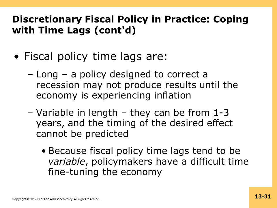 Copyright © 2012 Pearson Addison-Wesley. All rights reserved. 13-31 Discretionary Fiscal Policy in Practice: Coping with Time Lags (cont'd) Fiscal pol