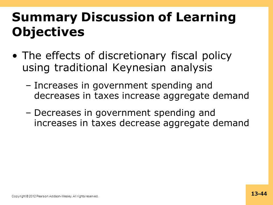 Copyright © 2012 Pearson Addison-Wesley. All rights reserved. 13-44 Summary Discussion of Learning Objectives The effects of discretionary fiscal poli