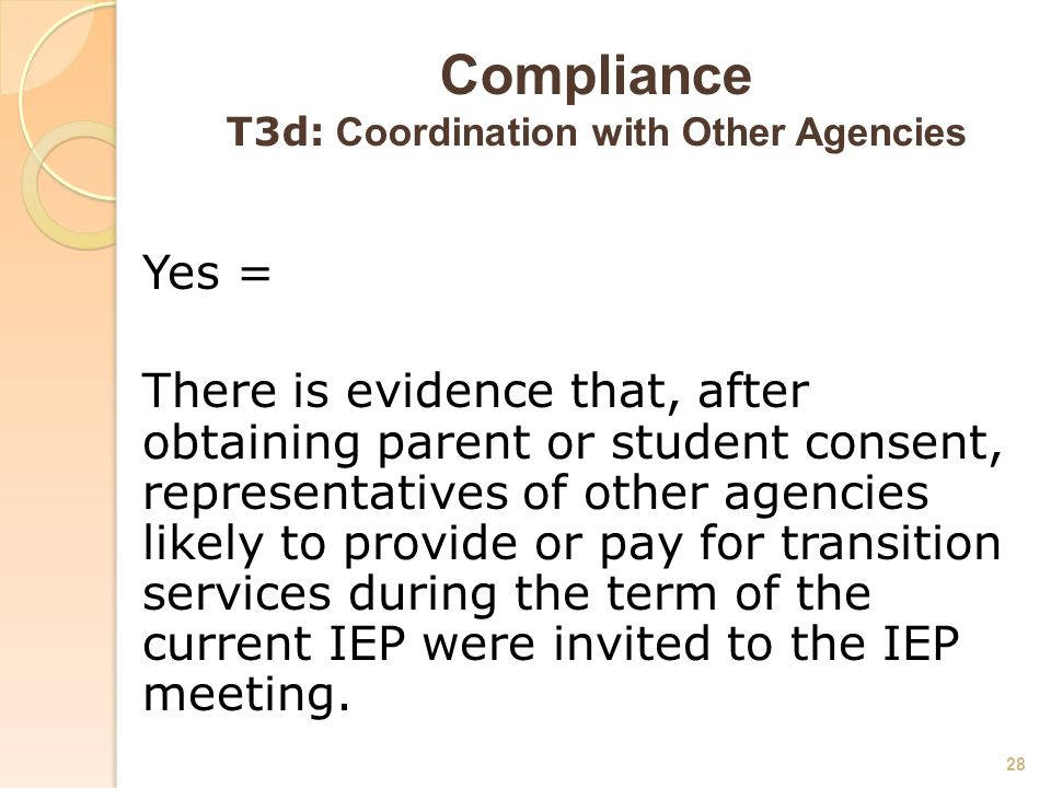 Compliance T3d: Coordination with Other Agencies Yes = There is evidence that, after obtaining parent or student consent, representatives of other agencies likely to provide or pay for transition services during the term of the current IEP were invited to the IEP meeting.
