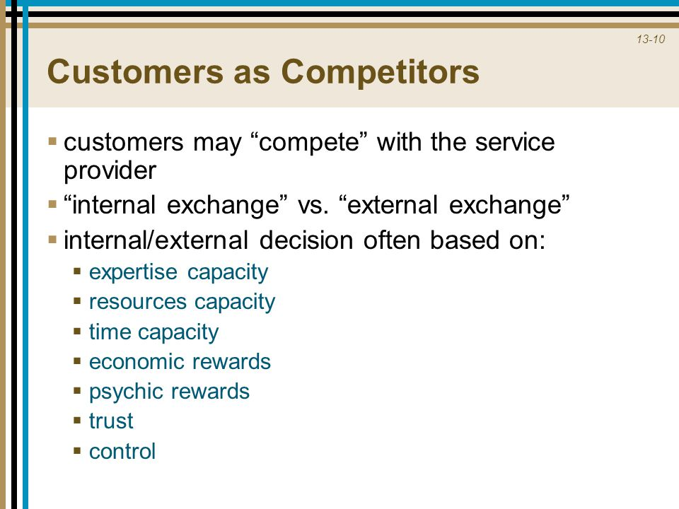 13-10 Customers as Competitors  customers may compete with the service provider  internal exchange vs.