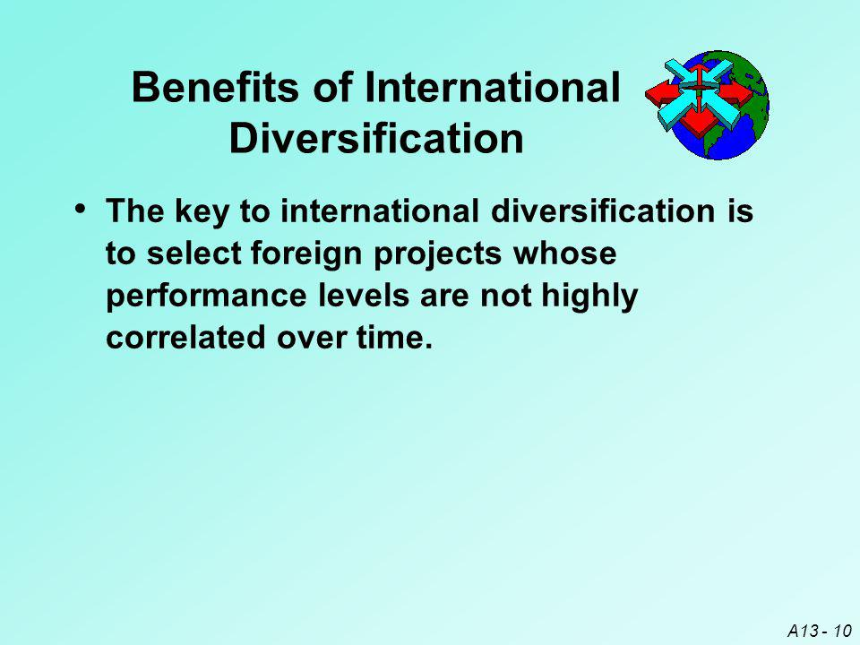 A13 - 10 Benefits of International Diversification The key to international diversification is to select foreign projects whose performance levels are not highly correlated over time.