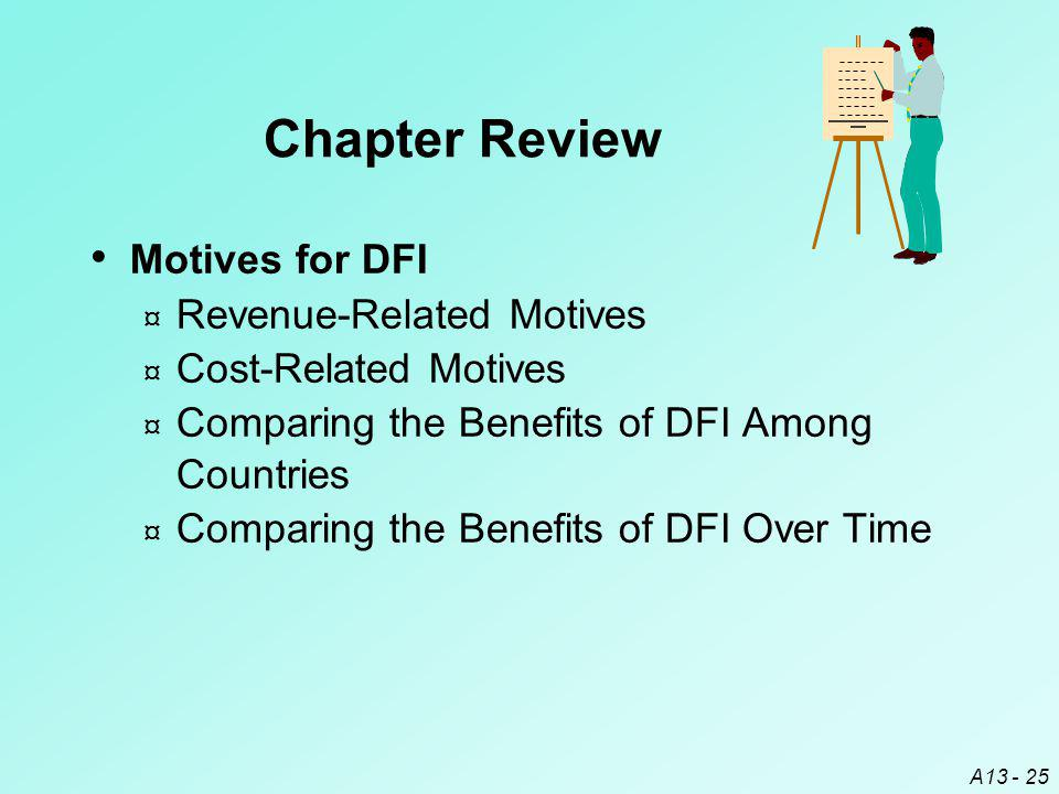 A13 - 25 Motives for DFI ¤ Revenue-Related Motives ¤ Cost-Related Motives ¤ Comparing the Benefits of DFI Among Countries ¤ Comparing the Benefits of DFI Over Time Chapter Review