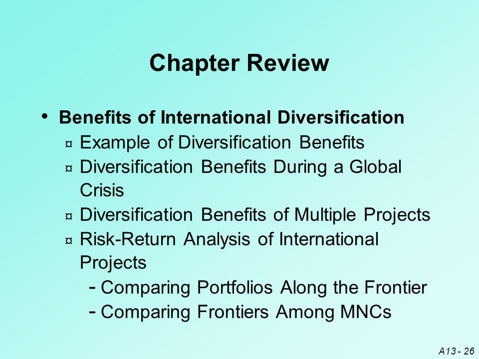 A13 - 26 Chapter Review Benefits of International Diversification ¤ Example of Diversification Benefits ¤ Diversification Benefits During a Global Cri