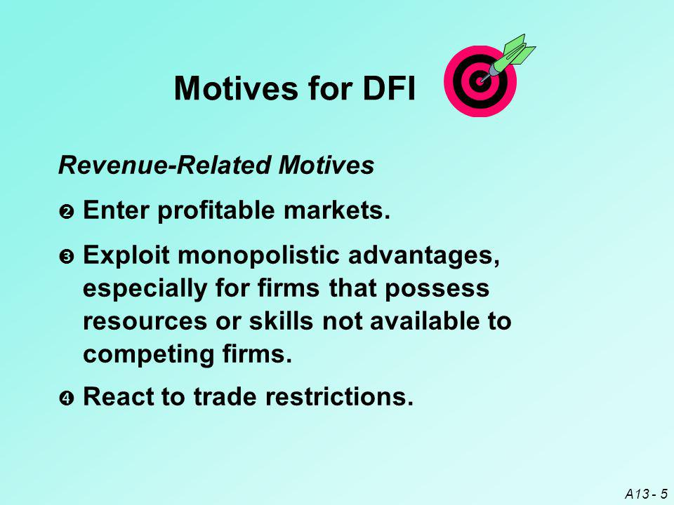 A13 - 5 Motives for DFI  Exploit monopolistic advantages, especially for firms that possess resources or skills not available to competing firms.  R