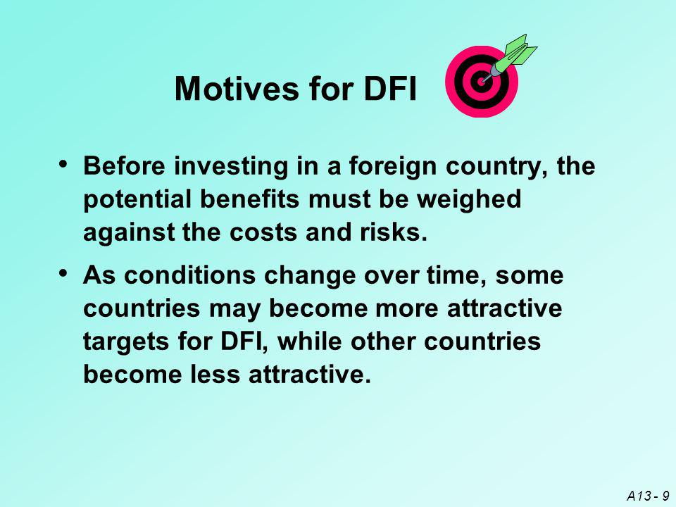 A13 - 9 Before investing in a foreign country, the potential benefits must be weighed against the costs and risks.