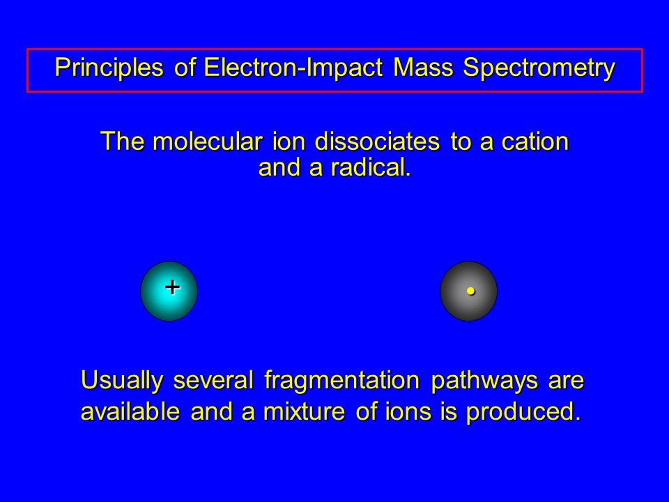 The molecular ion dissociates to a cation and a radical.
