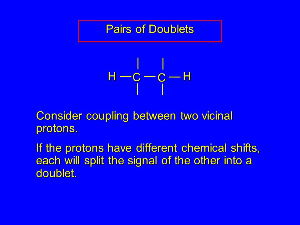 Pairs of Doublets Consider coupling between two vicinal protons.