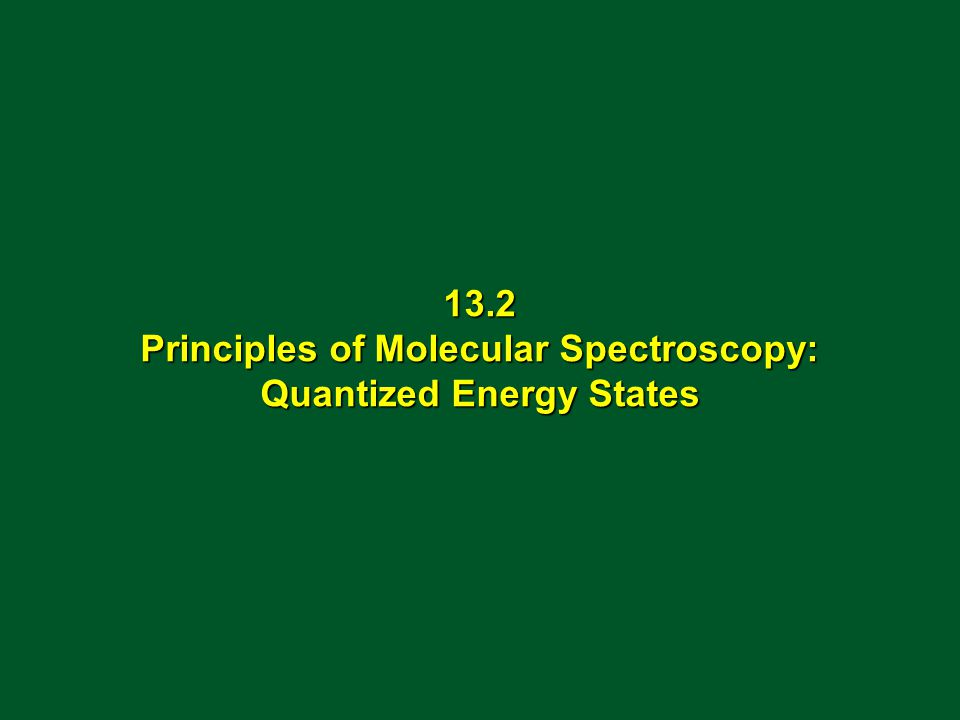 13.2 Principles of Molecular Spectroscopy: Quantized Energy States