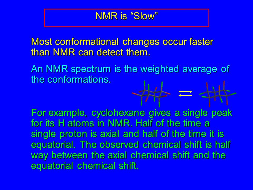 NMR is Slow Most conformational changes occur faster than NMR can detect them.