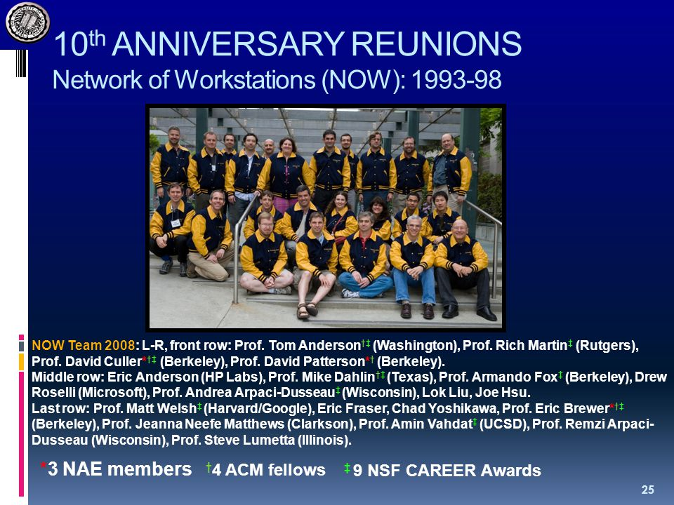 10 th ANNIVERSARY REUNIONS Network of Workstations (NOW): 1993-98 25 NOW Team 2008: L-R, front row: Prof.