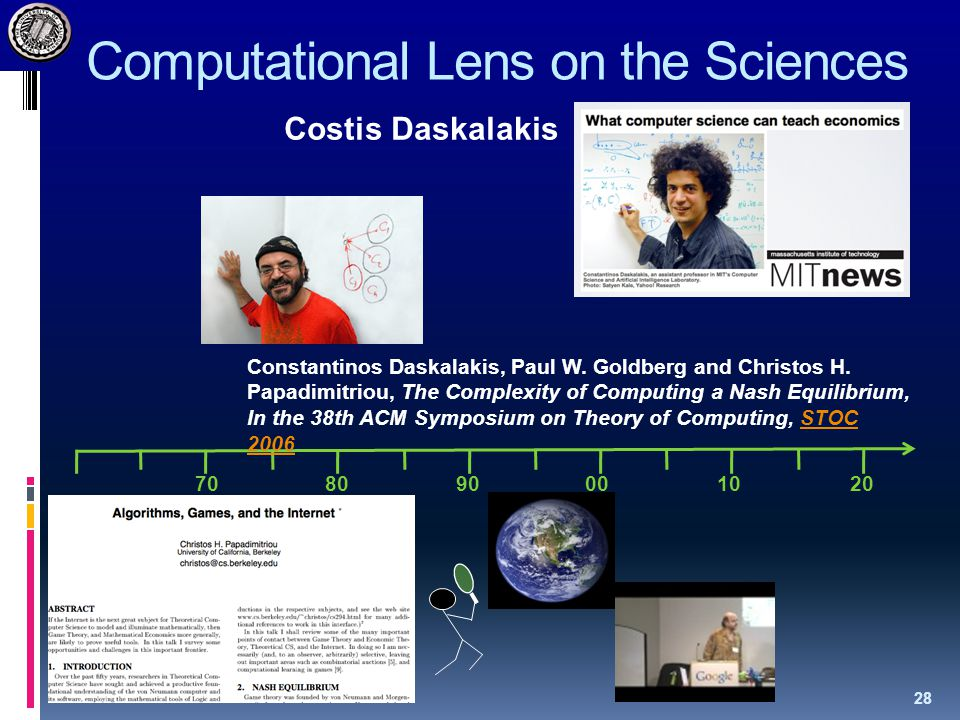 Computational Lens on the Sciences 28 708090001020 Costis Daskalakis Constantinos Daskalakis, Paul W.