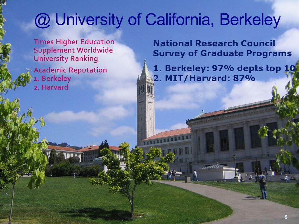 The worst thing about being at Berkeley is that you can never really be happy anywhere else - Prof.