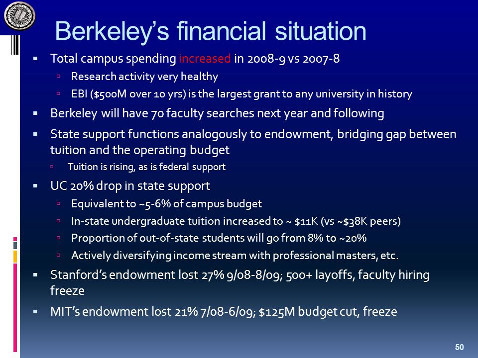 Berkeley's financial situation  Total campus spending increased in 2008-9 vs 2007-8  Research activity very healthy  EBI ($500M over 10 yrs) is the