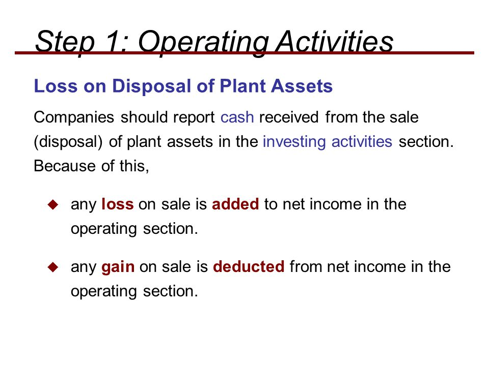 Loss on Disposal of Plant Assets Companies should report cash received from the sale (disposal) of plant assets in the investing activities section. B