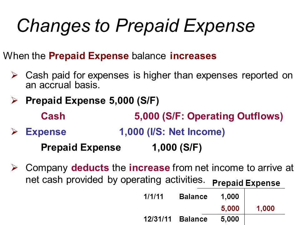 When the Prepaid Expense balance increases  Cash paid for expenses is higher than expenses reported on an accrual basis.