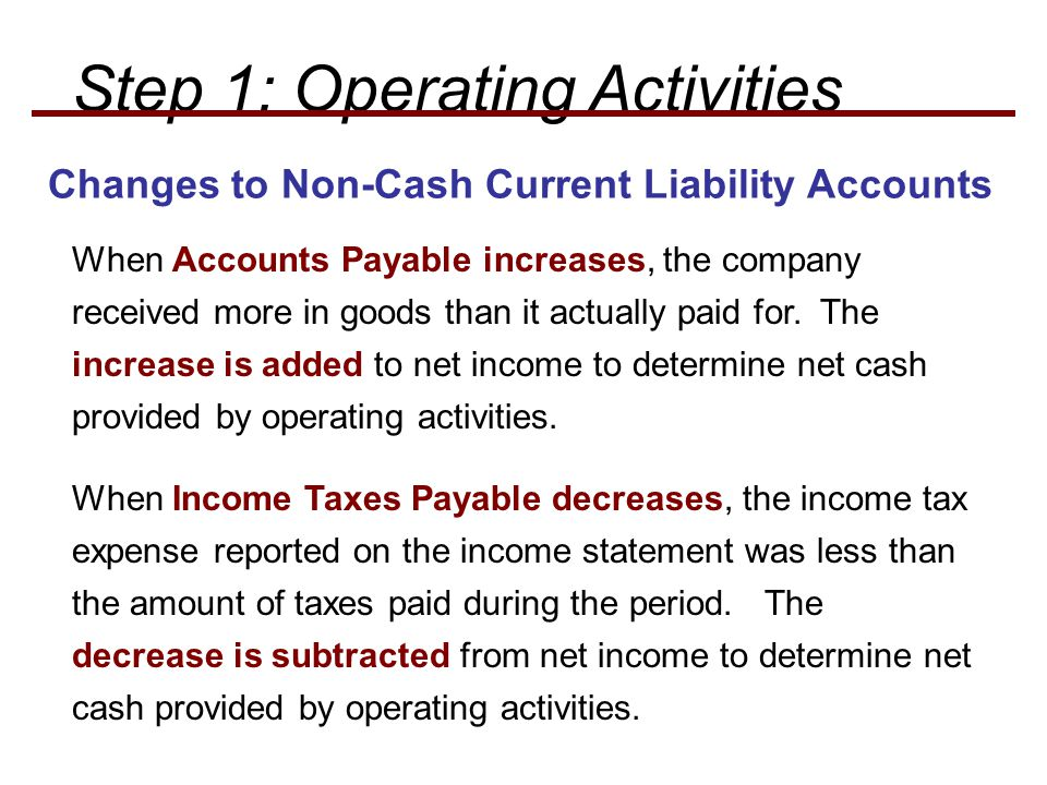 Changes to Non-Cash Current Liability Accounts When Accounts Payable increases, the company received more in goods than it actually paid for.