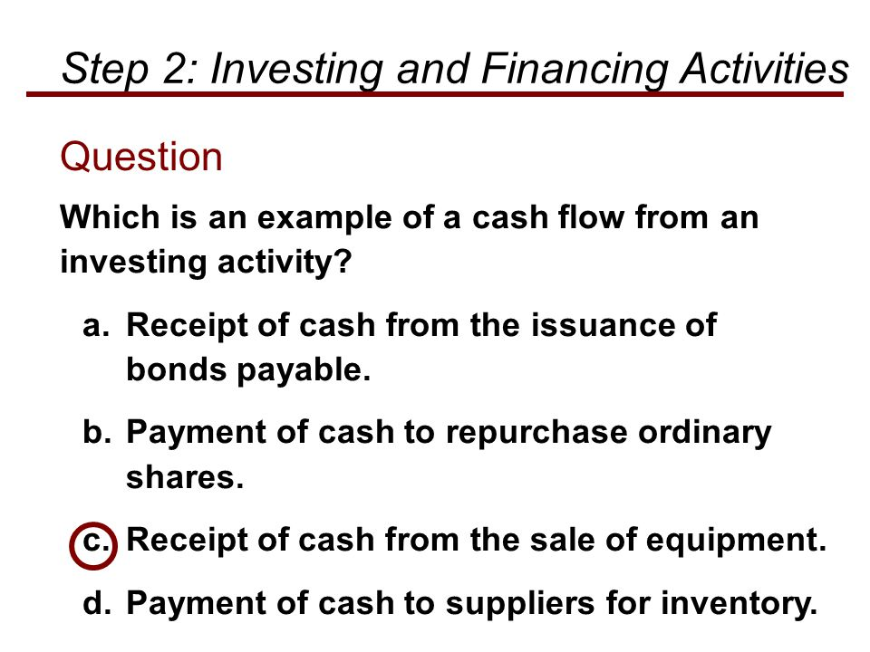 Which is an example of a cash flow from an investing activity? a.Receipt of cash from the issuance of bonds payable. b.Payment of cash to repurchase o