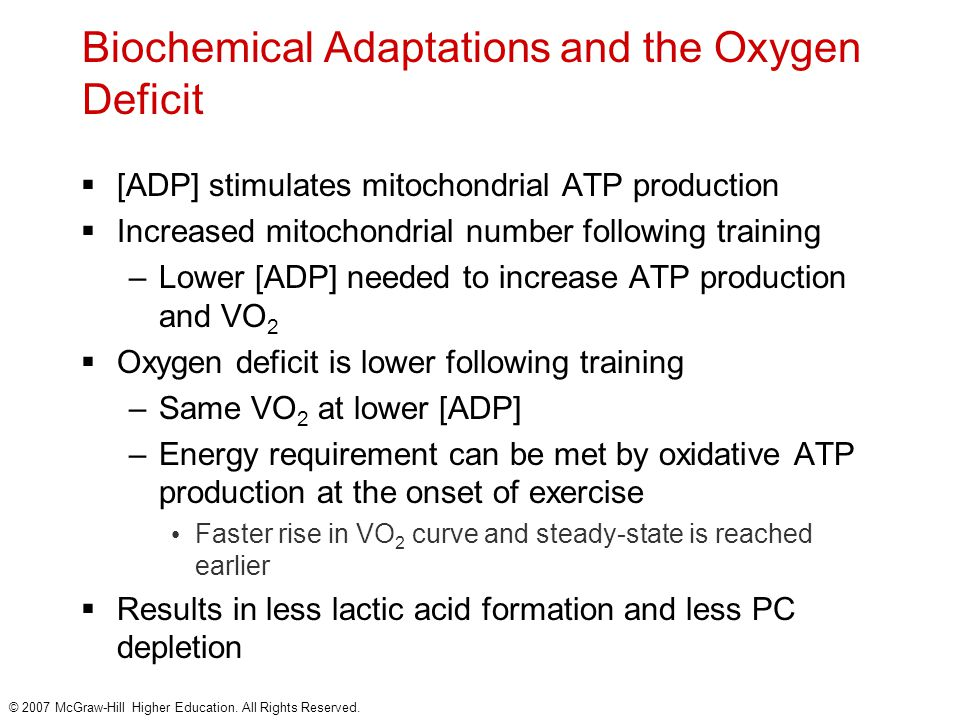 © 2007 McGraw-Hill Higher Education. All Rights Reserved. Biochemical Adaptations and the Oxygen Deficit  [ADP] stimulates mitochondrial ATP producti