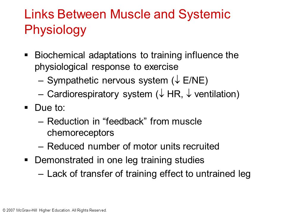 © 2007 McGraw-Hill Higher Education. All Rights Reserved. Links Between Muscle and Systemic Physiology  Biochemical adaptations to training influence