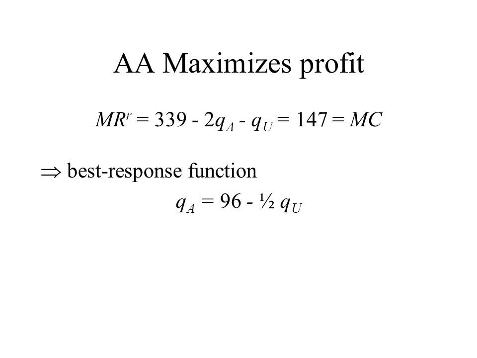 AA Maximizes profit MR r = 339 - 2q A - q U = 147 = MC  best-response function q A = 96 - ½ q U