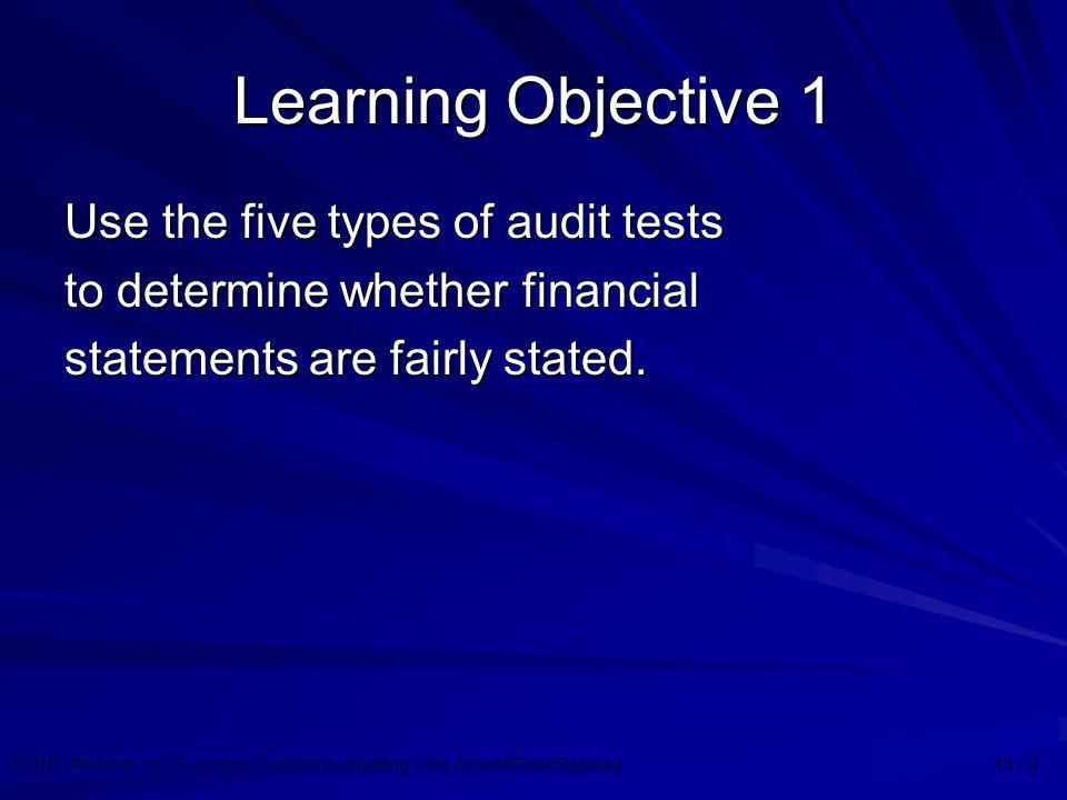 ©2010 Prentice Hall Business Publishing, Auditing 13/e, Arens//Elder/Beasley 13 - 3 Types of Tests  Risk assessment procedures  Further audit procedures