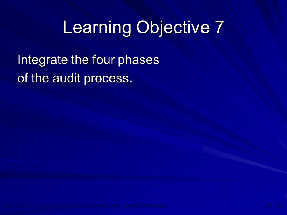 ©2010 Prentice Hall Business Publishing, Auditing 13/e, Arens//Elder/Beasley 13 - 30 Learning Objective 7 Integrate the four phases of the audit proce