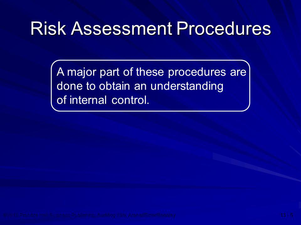 ©2010 Prentice Hall Business Publishing, Auditing 13/e, Arens//Elder/Beasley 13 - 5 Risk Assessment Procedures A major part of these procedures are do