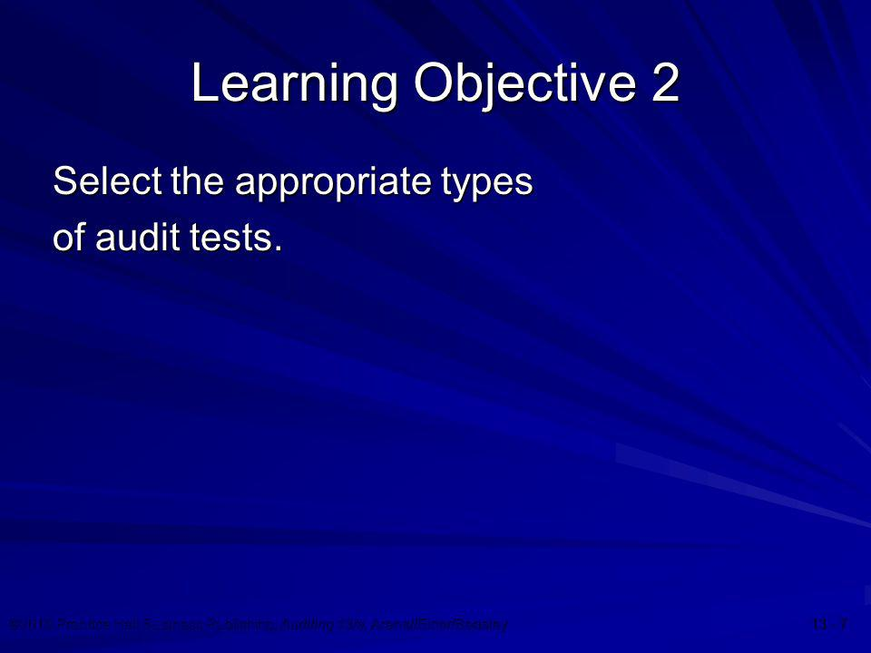 ©2010 Prentice Hall Business Publishing, Auditing 13/e, Arens//Elder/Beasley 13 - 28 Evidence Decisions  Sample size  Items to select  Timing  Audit procedures