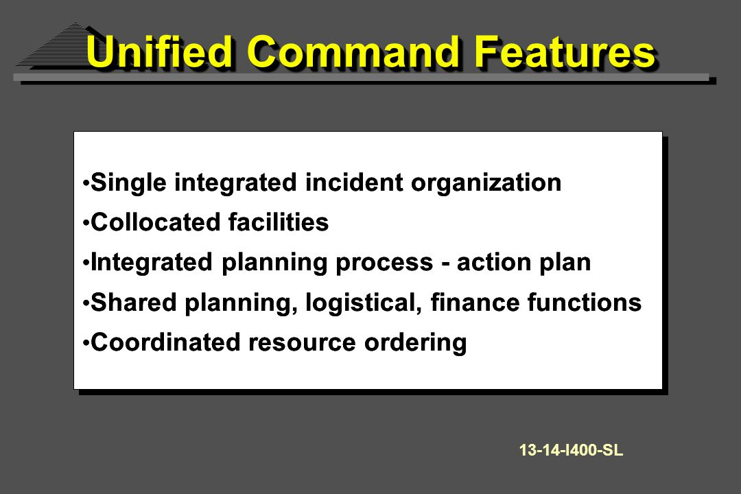 Single integrated incident organization Collocated facilities Integrated planning process - action plan Shared planning, logistical, finance functions Coordinated resource ordering Single integrated incident organization Collocated facilities Integrated planning process - action plan Shared planning, logistical, finance functions Coordinated resource ordering 13-14-I400-SL Unified Command Features