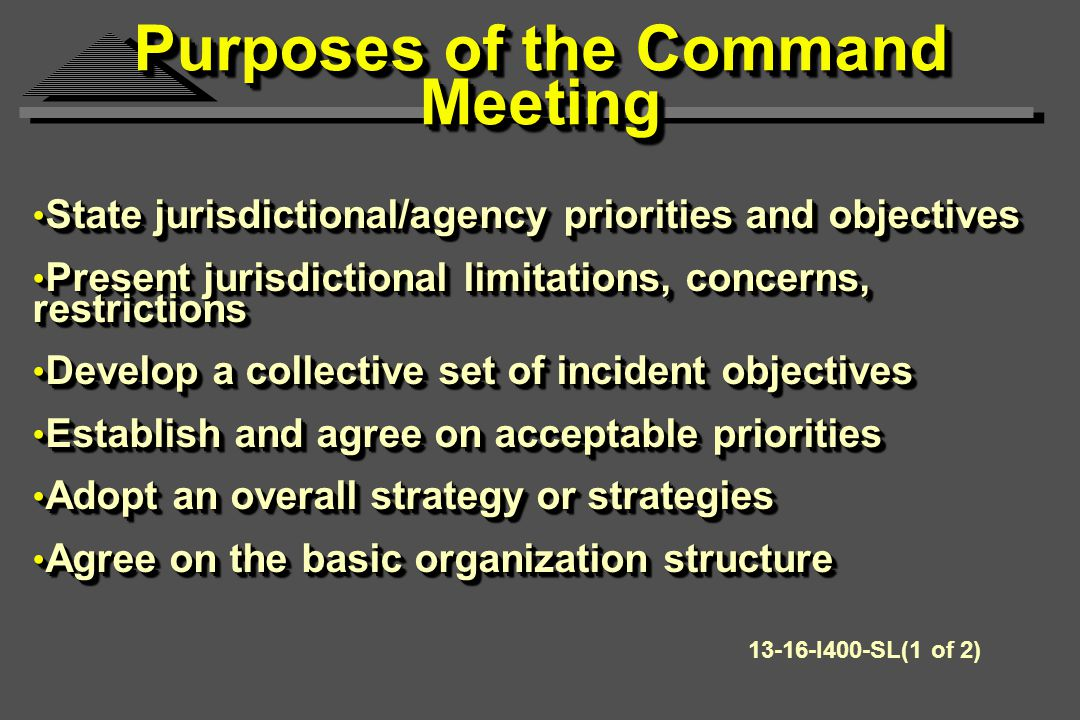 State jurisdictional/agency priorities and objectives State jurisdictional/agency priorities and objectives Present jurisdictional limitations, concerns, restrictions Present jurisdictional limitations, concerns, restrictions Develop a collective set of incident objectives Develop a collective set of incident objectives Establish and agree on acceptable priorities Establish and agree on acceptable priorities Adopt an overall strategy or strategies Adopt an overall strategy or strategies Agree on the basic organization structure Agree on the basic organization structure State jurisdictional/agency priorities and objectives State jurisdictional/agency priorities and objectives Present jurisdictional limitations, concerns, restrictions Present jurisdictional limitations, concerns, restrictions Develop a collective set of incident objectives Develop a collective set of incident objectives Establish and agree on acceptable priorities Establish and agree on acceptable priorities Adopt an overall strategy or strategies Adopt an overall strategy or strategies Agree on the basic organization structure Agree on the basic organization structure Purposes of the Command Meeting 13-16-I400-SL(1 of 2)