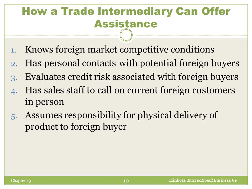 How a Trade Intermediary Can Offer Assistance Chapter 13 1. Knows foreign market competitive conditions 2. Has personal contacts with potential foreig