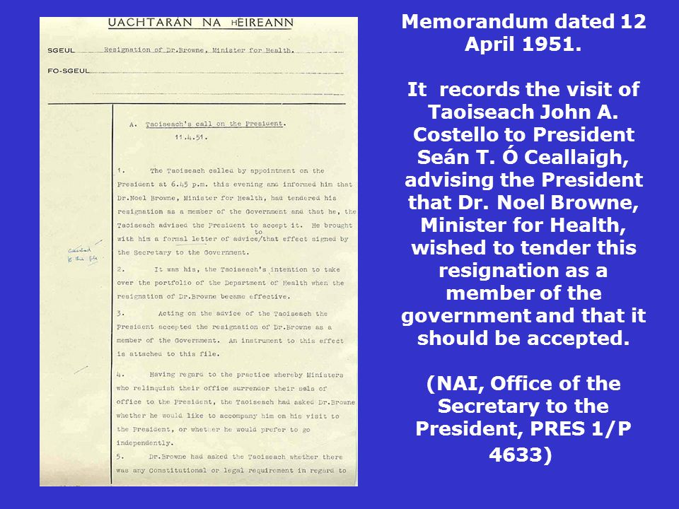 Memorandum dated 12 April 1951. It records the visit of Taoiseach John A.