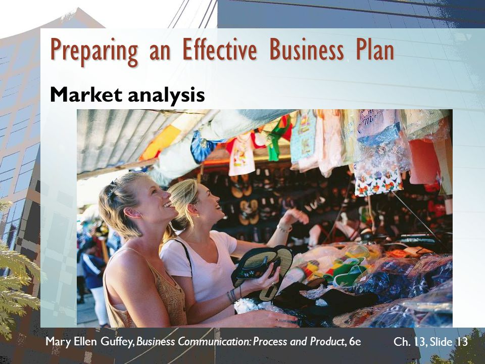 Mary Ellen Guffey, Business Communication: Process and Product, 6e Ch. 13, Slide 13 Market analysis  Discuss market characteristics, trends, and proj