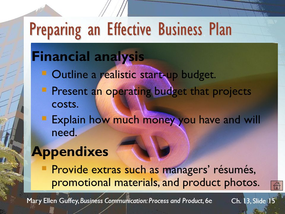 Mary Ellen Guffey, Business Communication: Process and Product, 6e Ch. 13, Slide 15 Financial analysis  Outline a realistic start-up budget.  Presen