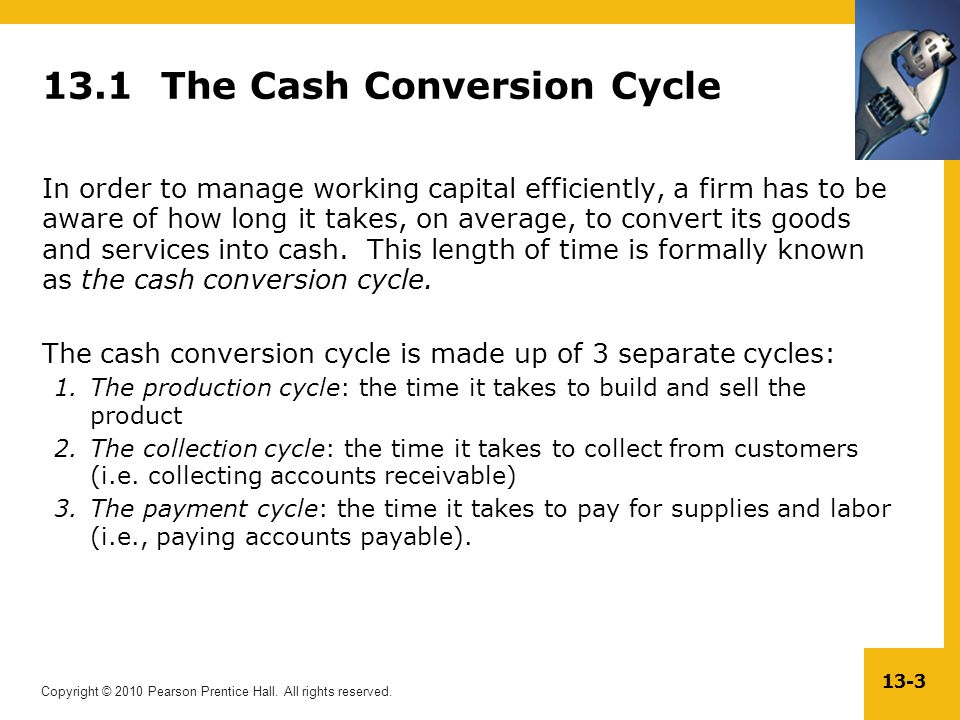 Copyright © 2010 Pearson Prentice Hall. All rights reserved. 13-3 13.1 The Cash Conversion Cycle In order to manage working capital efficiently, a fir