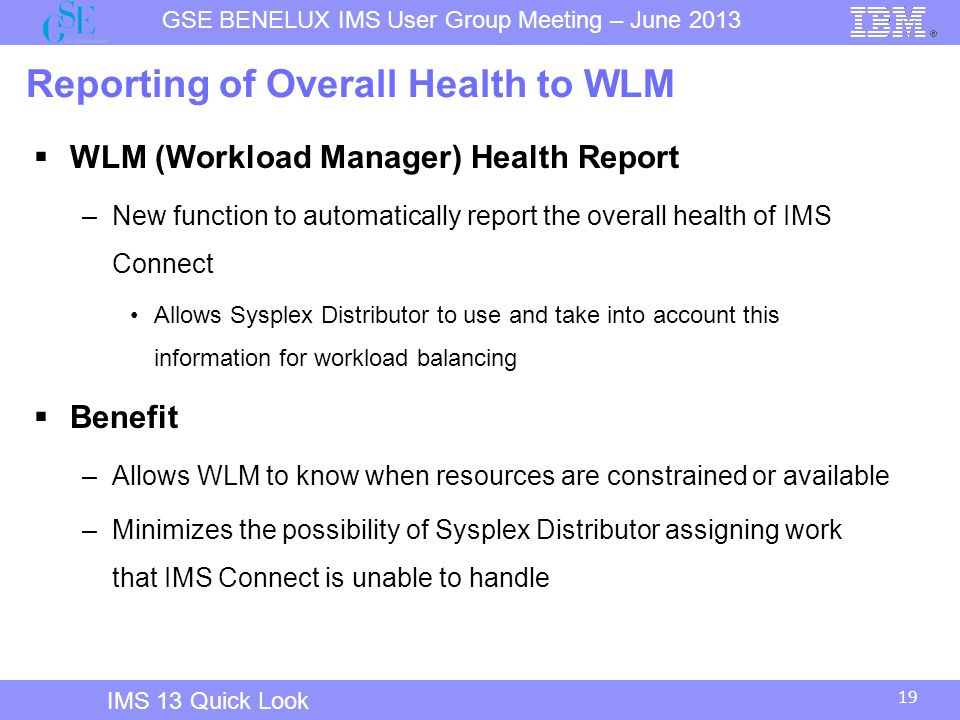 19 GSE BENELUX IMS User Group Meeting – June 2013 IMS 13 Quick Look Reporting of Overall Health to WLM  WLM (Workload Manager) Health Report –New function to automatically report the overall health of IMS Connect Allows Sysplex Distributor to use and take into account this information for workload balancing  Benefit –Allows WLM to know when resources are constrained or available –Minimizes the possibility of Sysplex Distributor assigning work that IMS Connect is unable to handle