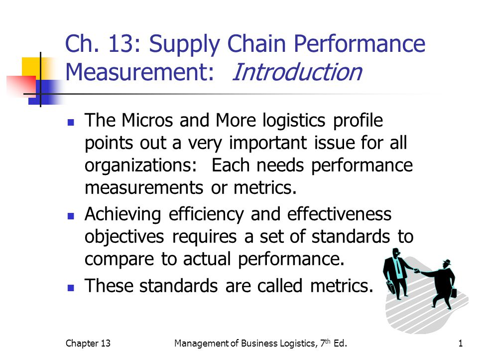 Chapter 13Management of Business Logistics, 7 th Ed.2 Dimensions of Performance Metrics Establishing appropriate metrics is a complex problem.