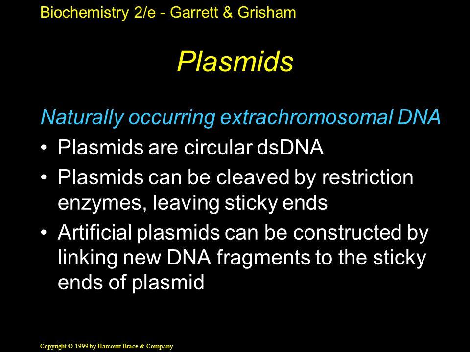 Biochemistry 2/e - Garrett & Grisham Copyright © 1999 by Harcourt Brace & Company Plasmids Naturally occurring extrachromosomal DNA Plasmids are circu