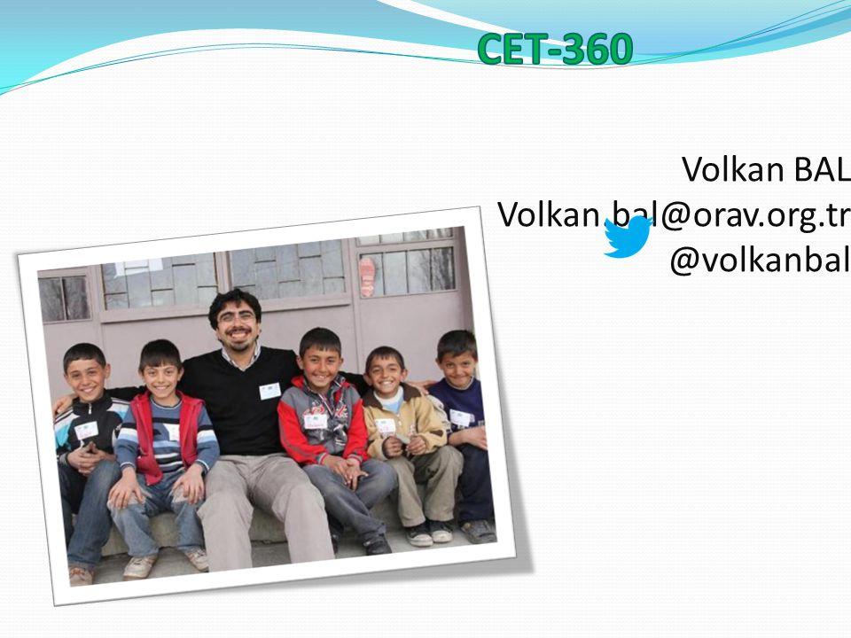 Volkan BAL Volkan.bal@orav.org.tr @volkanbal